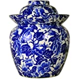 """TransSino Treasures 10"""" Blue and White Porcelain Pickling Jar with 2 Lids"""