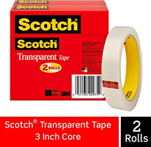 Scotch Brand Transparent Tape, Engineered for Office and Home Use, 3/4 x 2592 Inches, 3 Inch Core, Boxed, 2 Rolls (600-2P34-72)