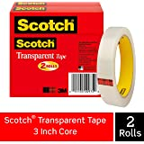 Scotch Brand Transparent Tape, Engineered for Office and Home Use, 3/4 x 2592 Inches, 3 Inch Core, Boxed, 2 Rolls (600-2P34-72),Clear
