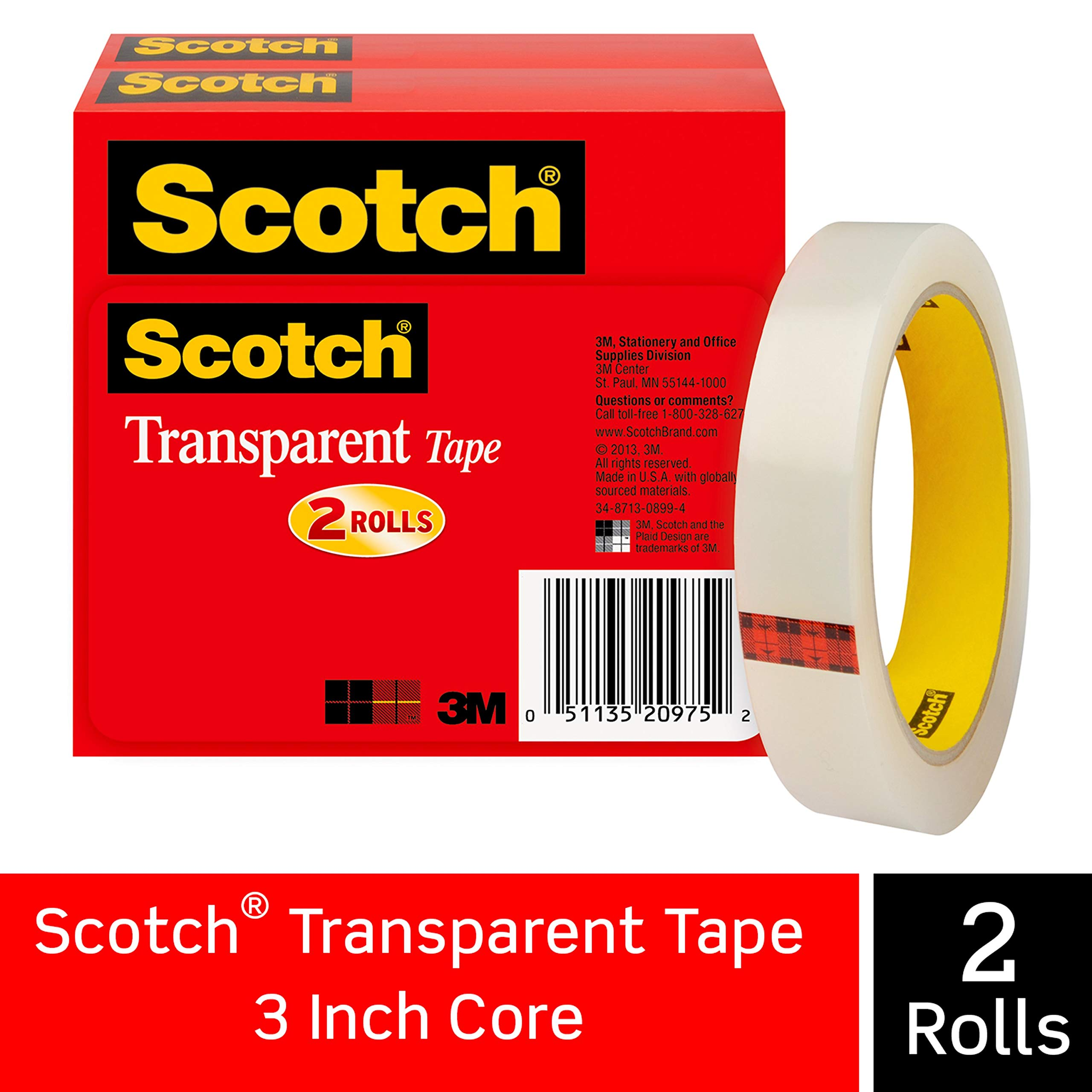 "2x 6 Pack Scotch Sure Start Shipping Package Tape Refill 1.88/""x900/"" 1 1//2/"" Core"