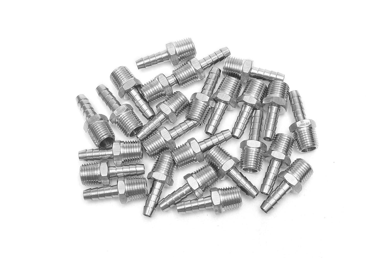 25 piezas Sin Marca Nueva 5//16 manguera ID x 1//4 Macho NPT accesorio de acero inoxidable 316 de conector y acoplador para combustible agua gas