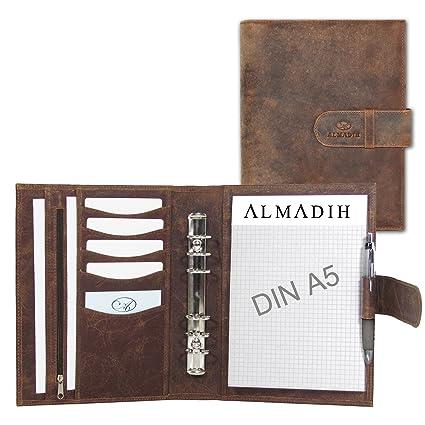 ALMADIH piel A5 Agenda+ bloc de notas de piel marrón piel de ...