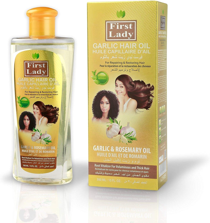Aceite para el cabello First Lady con ajo y hierbas (ayurveda) para reparación y recuperación capilar, con romero, para pelos europeos, asiáticos y africanos, 300 ml