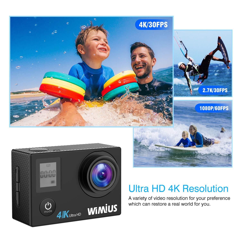 WiMiUS Action Cam 4K 16MP WiFi Subacquea 40M Telecamera d\'azione Fotocamera Impermeabile con 2 batterie Ricaricabili e Kit di Accessori di Montaggio Q4 Nero