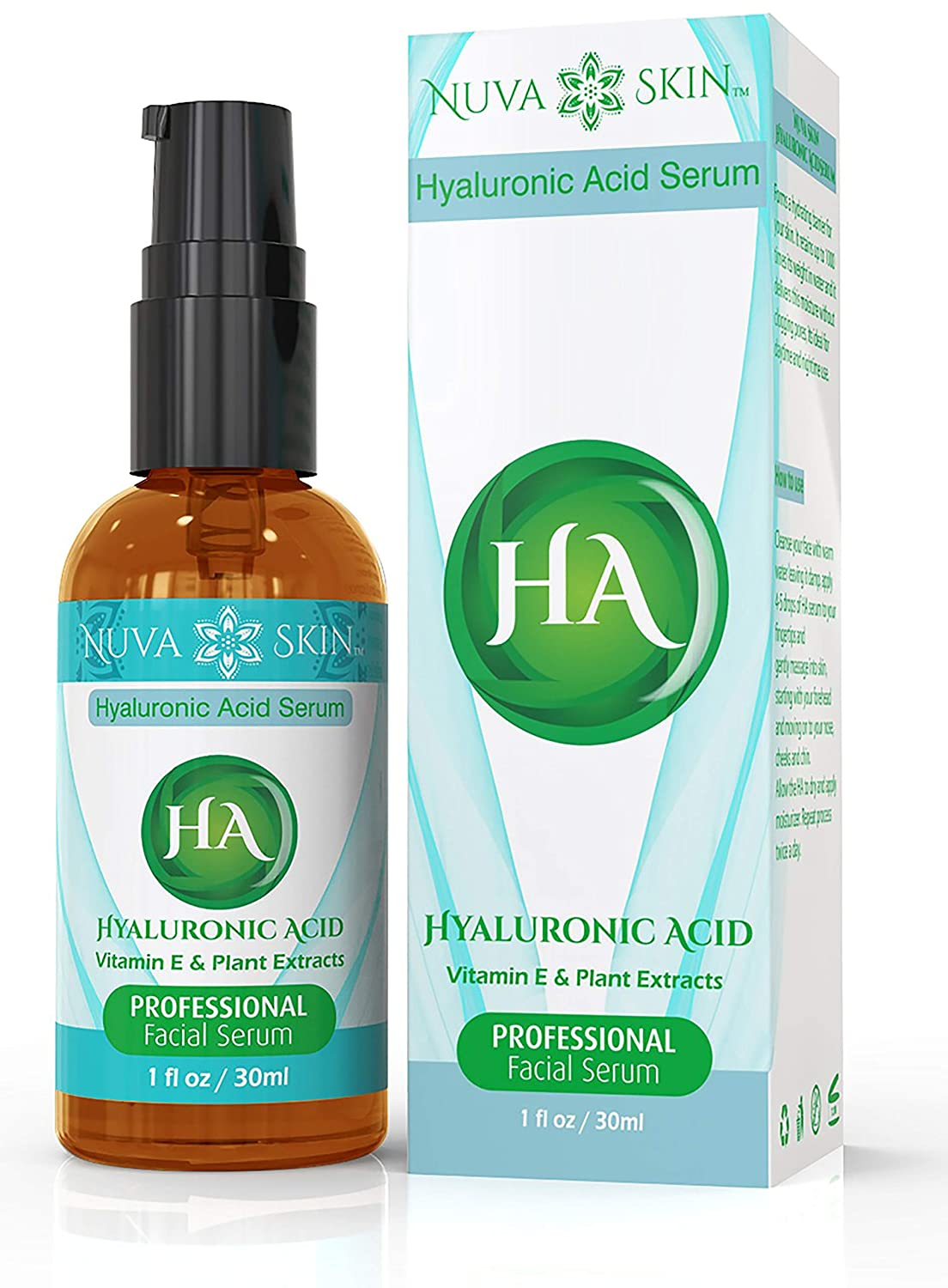 Nuva Skin Hyaluronic Acid Serum - Intense Hydrating Moisturizer - Non-Greasy, Paraben-Free Natural Facial Treatment - Anti Wrinkles, Anti Aging, Age & Sun Spot Removal for All Skin Types