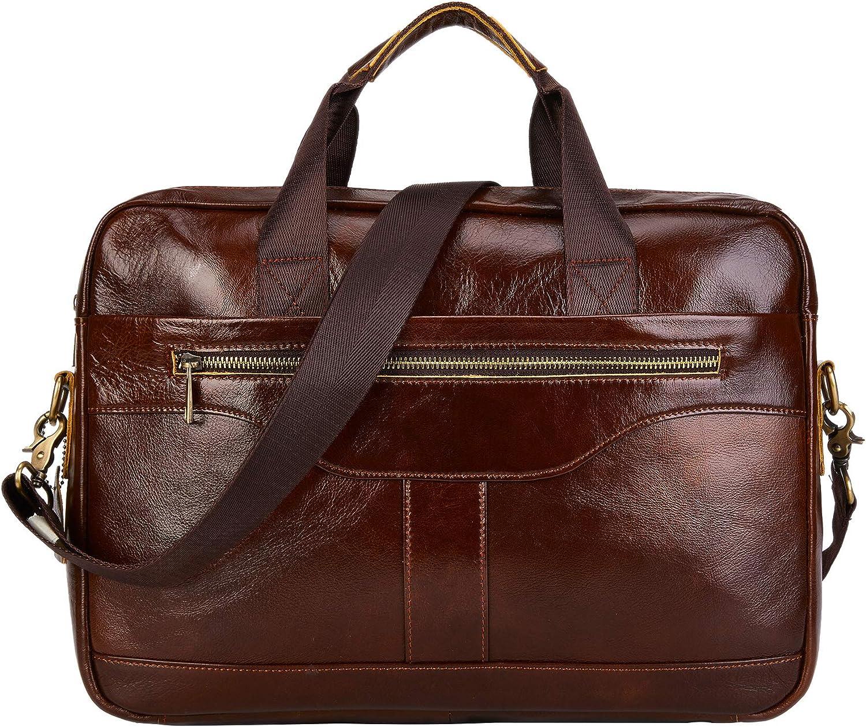 BRASS TACKS Leathercraft Men s Vintage Handmade Full Leather 14 inch Laptop Briefcase Brown Cowhide Handbag Water Resistant Messenger Bag