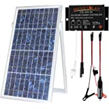 MicroSolar - 30w Solar Charger Kit // Plug & Play// IP68 WATERPROOF Solar Charge Contoller - 18 Ft Cable - Optional 16 ft extension cable // Cigarette Plug with Fuse & Alligator Clips Cable