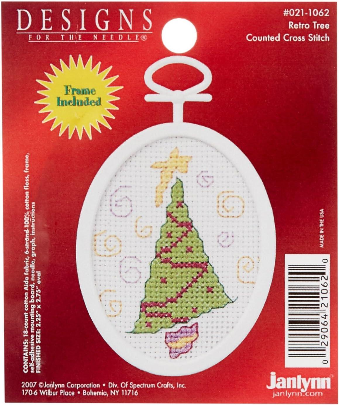 Janlynn Retro Tree Mini Counted Cross Stitch Kit-2-1/4 X2-3/4 Oval 18 Count (21-1062)