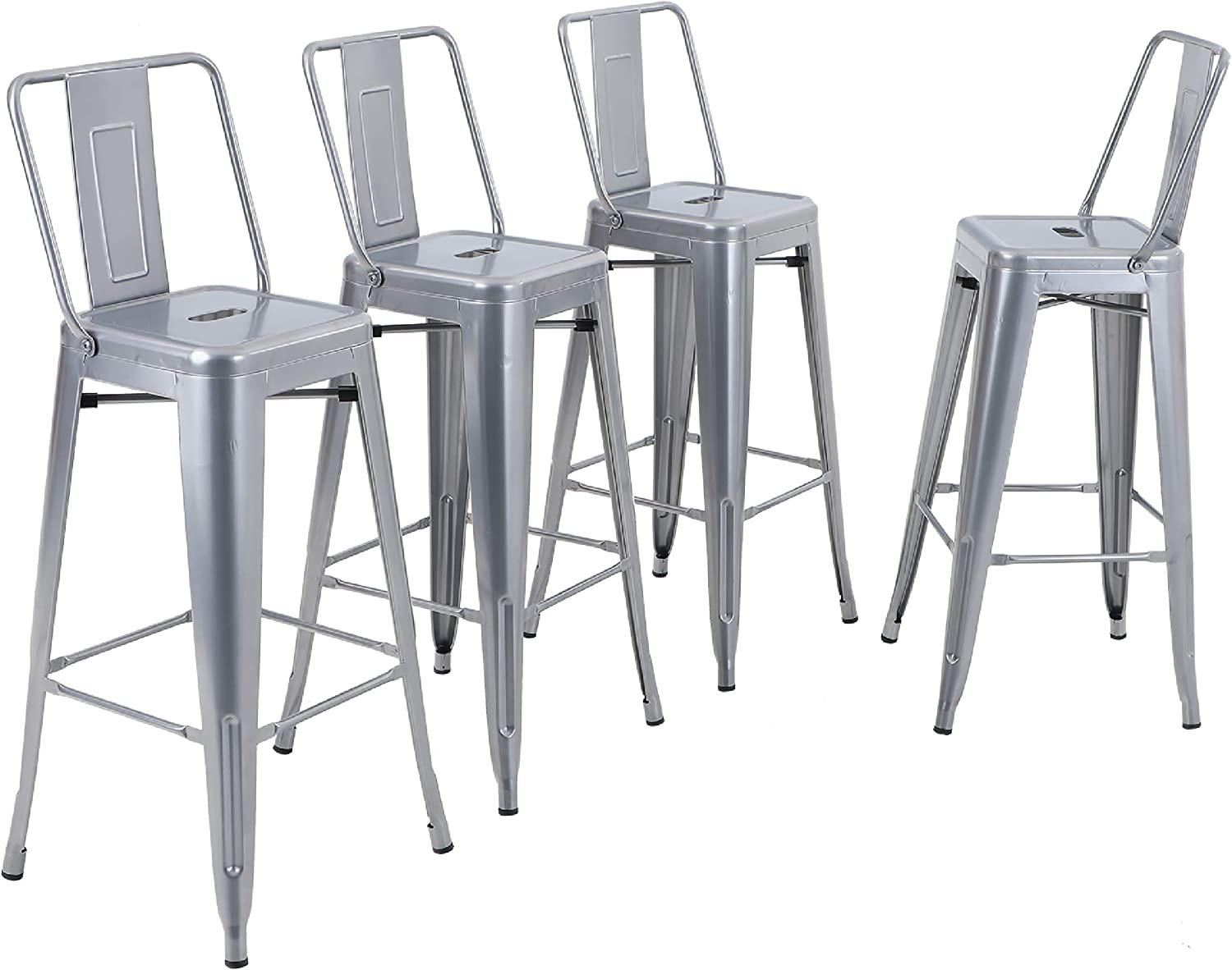 Matte Black Alpha Home Metal Bar Stool 30 Inches Counter Height Stools Set Of 4 With Low Back Bar Chair For Indoor Outdoor Kitchen Weight Capacity 350 Lb Patio Lawn Garden Chairs