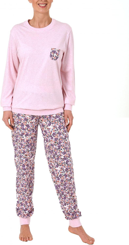 Damen Pyjama langarm mit Bündchen in lässiger Form 60718