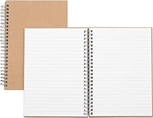 Nature Saver 20205 Hardcover Notebk, Twin Wire, 80 Shts, 8-1/4-Inch x5-7/8-Inch, BN/KFT