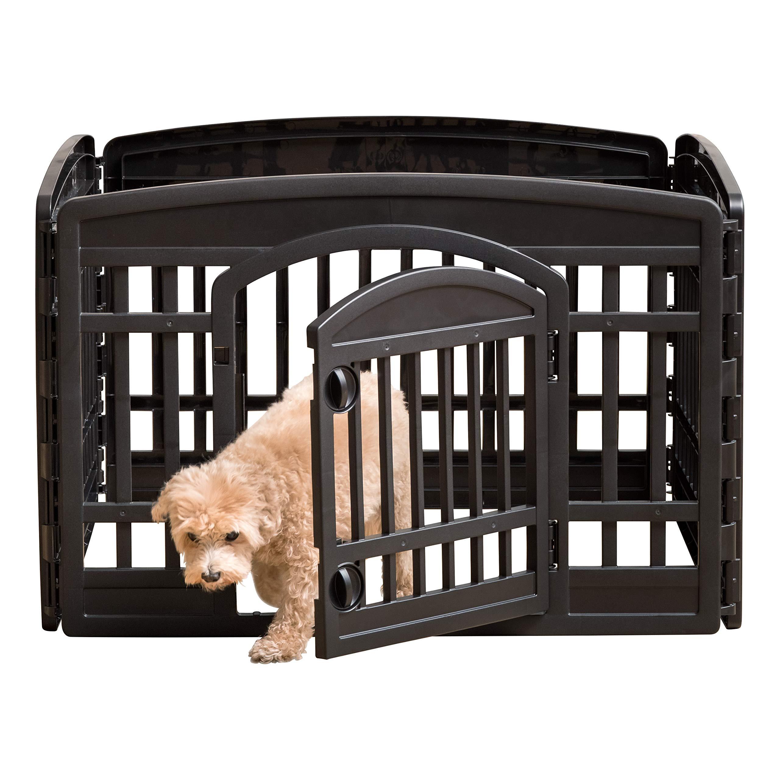IRIS 24'' 4 Panel Exercise Pet Playpen with Door, Black