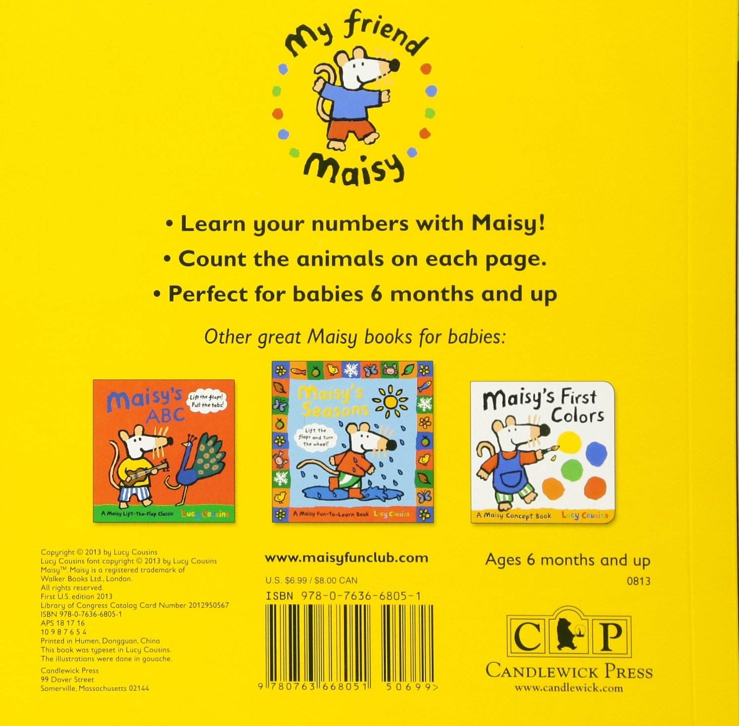 Amazon.com: Maisy's First Numbers: A Maisy Concept Book (9780763668051):  Lucy Cousins, Lucy Cousins: Books