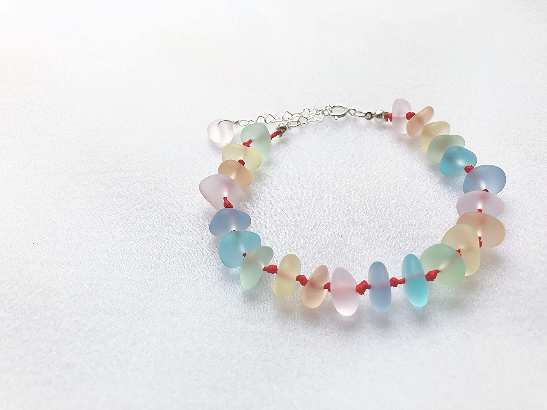 Adjustable String Knot Sennit Bracelet Lilyhandmade Handmade Sea Glass Bracelet Sea Glass Jewelry Beach Glass Jewelry