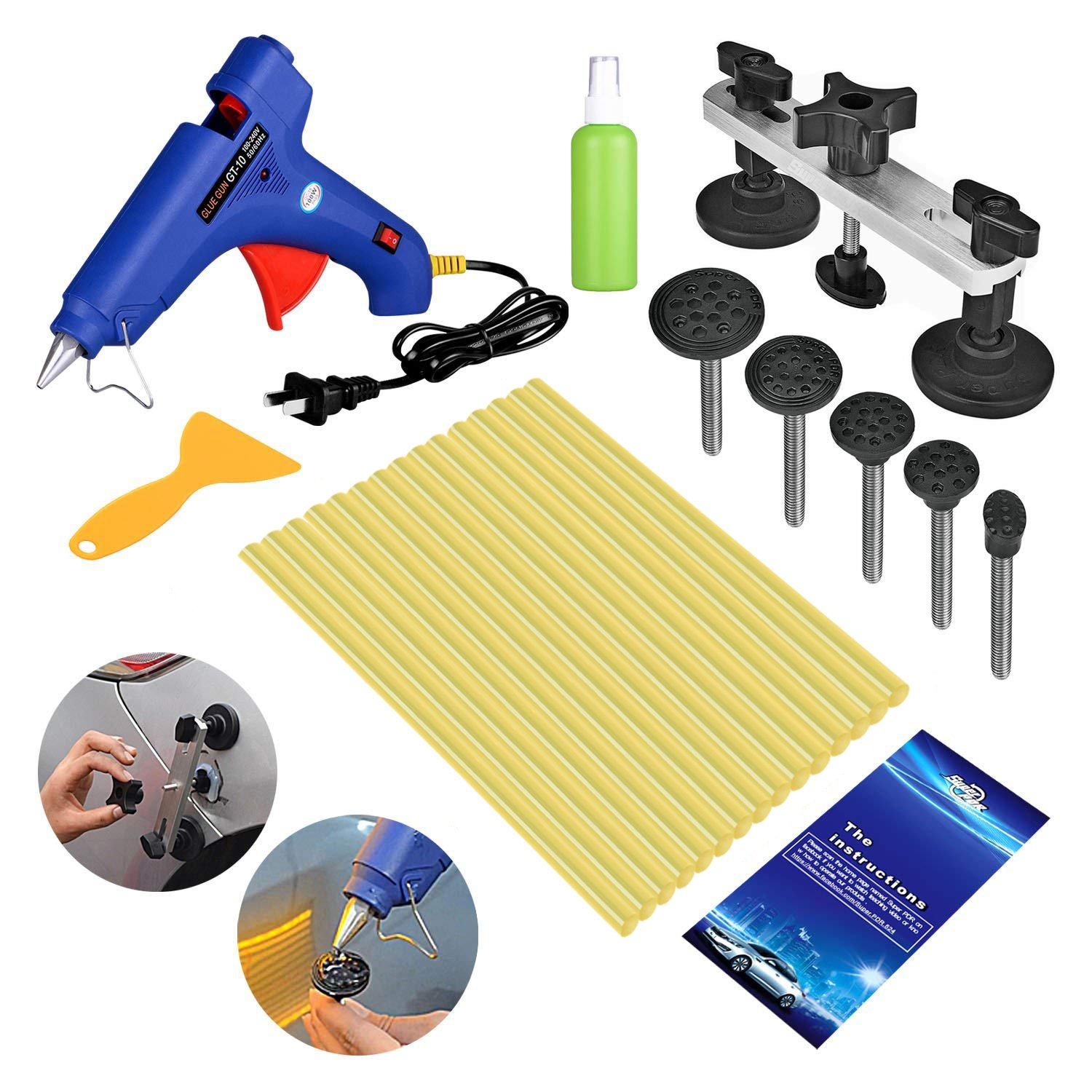 FLY5D 19Pcs Auoto Body Paintless Dent Removal Repair Tool Kits Bridge Puller Tool Kits