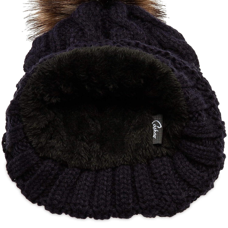 046c960e3c020 CASPAR MU104 Bonnet fourré hiver pour femme bonnet tricoté avec torsades et gros  pompon en fausse fourrure Bonnets Vêtements