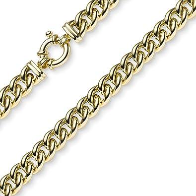 10,5 mm Chaîne gourmette Collier en or jaune 585 45 cm Collier Bijoux aa44b2a8a86a