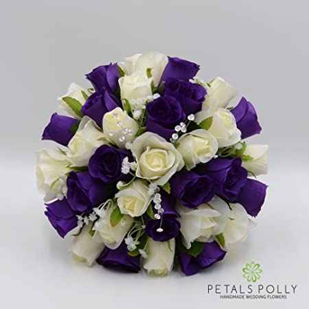 Silk wedding flowers hand made by petals polly brides posy purple silk wedding flowers hand made by petals polly brides posy purplecream junglespirit Gallery