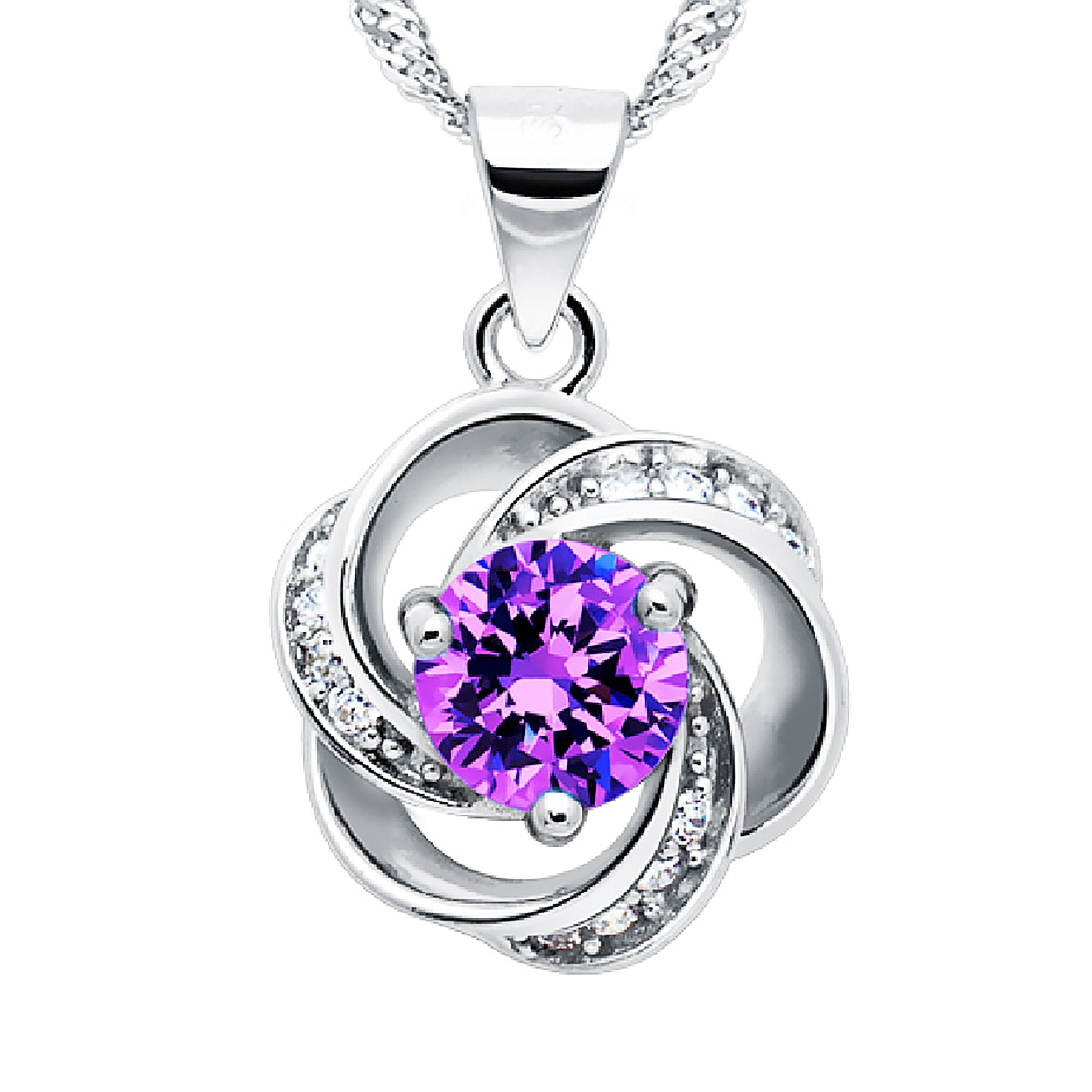 Pearl of Dream Shall I Compare Thee to A Summer's Day [Purple] Sterling Silver Flower Pendant Necklace