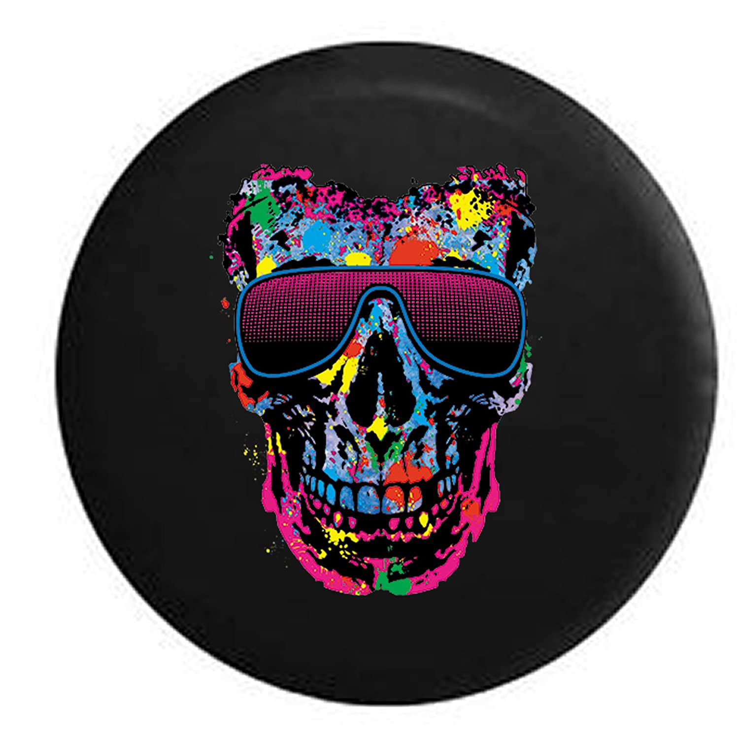 4d7c978a40da Amazon.com  Neon Painted Splatter Skull Stunna Shades Sunglasses Spare Tire  Cover Black 31 in  Automotive