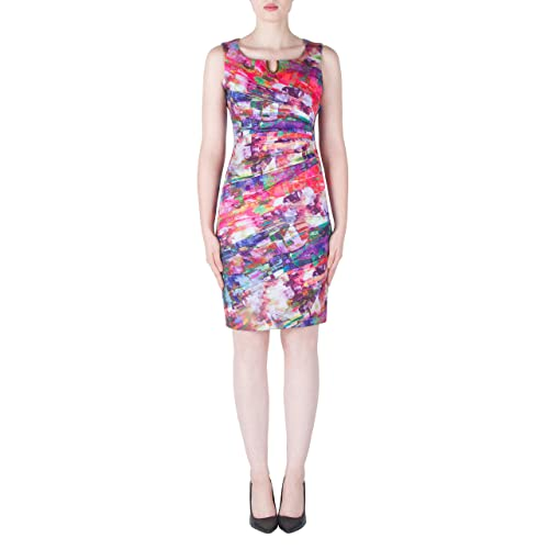 Joseph Ribkoff Multicolored Ruched Dress with Gold Tone Accent - Style 171716