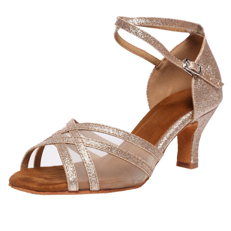 Akanu Women's Latin Dance Shoes Female's Ballroom Salsa Dance Shoes(E-Style Gold Size 7.5)