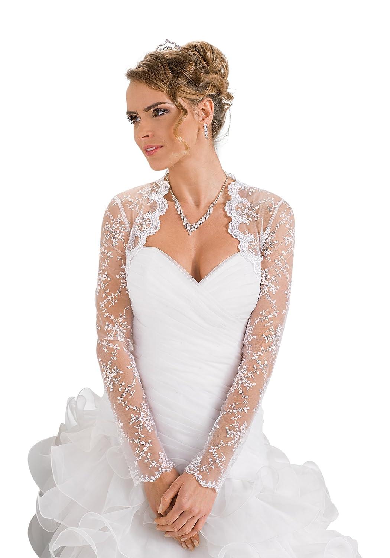 c90fc9442e Amazon.com: Womens Wedding Bridal Lace Bolero Jacket Long Sleeve: Clothing