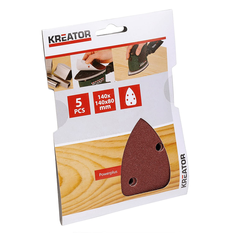 Kreator 03220003 Jeu de 5 Garnitures triangulaires 5 trous 140 x 140 x 80 mm Grain 40