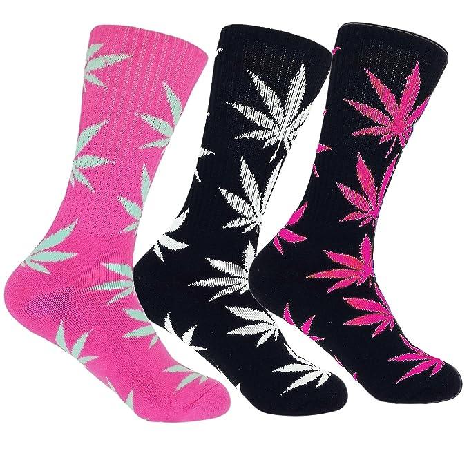 dopeme marihuana Weed Leaf Impreso Algodón de alta calcetines Pack de 3