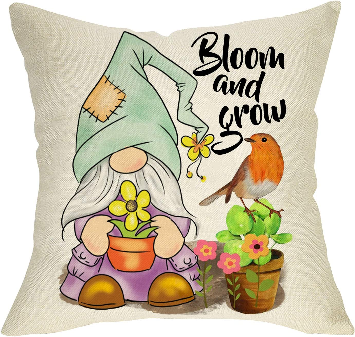 Softxpp Spring Gnome Decorative Throw Pillow Cover, Bloom and Grow Bird Sign Cushion Case, Home Flower Butterfly Decorations Cotton Linen Square Outside Pillowcase Decor for Sofa Couch 18 x 18