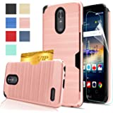 LG Stylo 3 Case,LG Stylo 3 Plus Case,LG Stylus 3 case with HD Screen Protector,AnoKe[Card Slots Holder][Not Wallet] Plastic TPU Hybrid Shockproof for LG LS777 KC2 Rose Gold