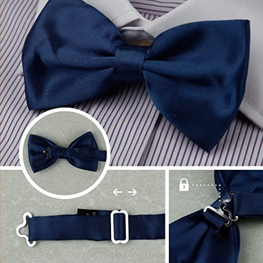 DBF2010 Bowtie Fashion Dim Grey,Fuchsia,Purple,Lemon,Burgundy Solid Poly Bow tie