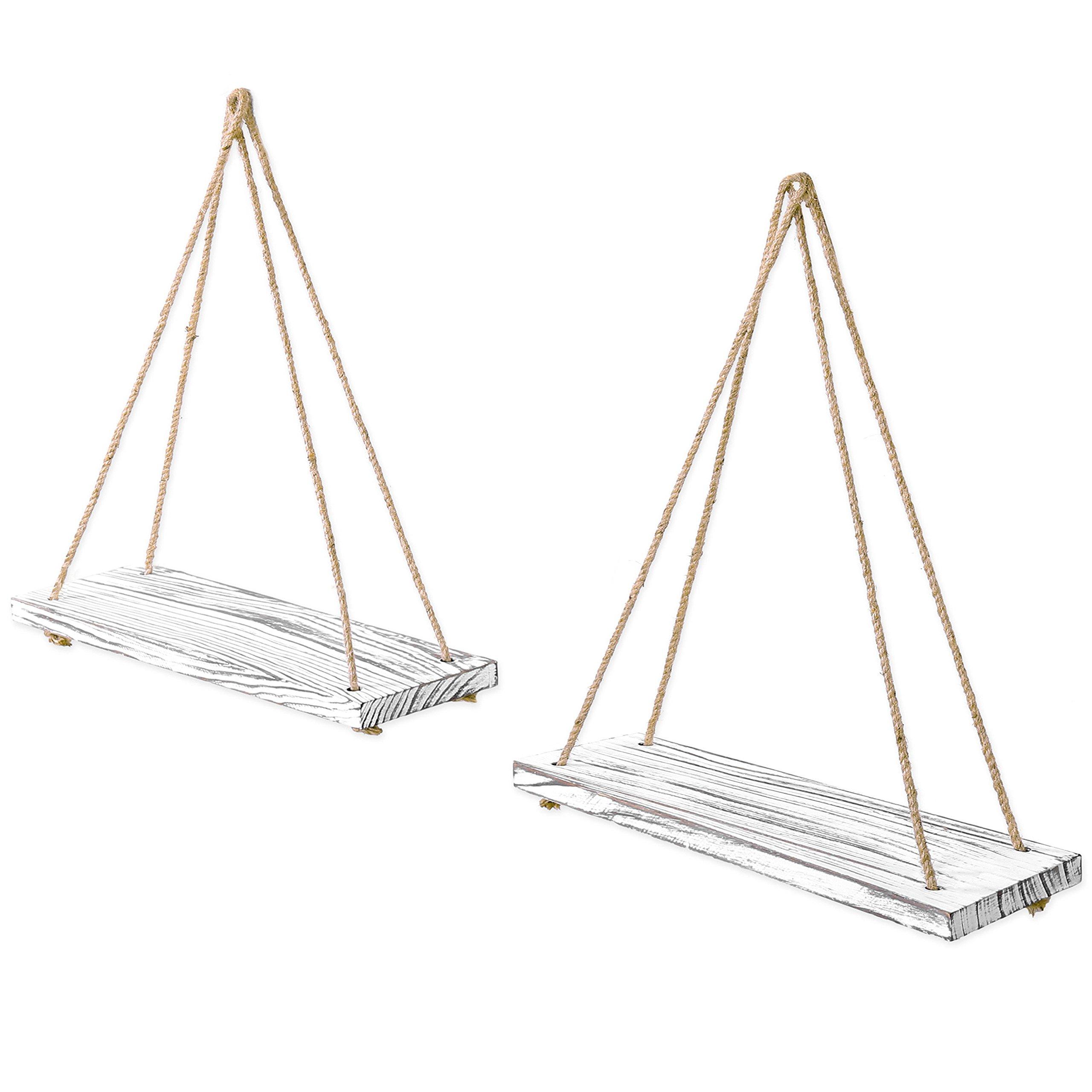 MyGift 17-inch Whitewashed Wood Hanging Rope Swing Shelves, Set of 2 by MyGift (Image #2)