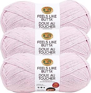 (3 Pack) Lion Brand Yarn 123-101 Feels Like Butta Bonus Bundle Yarn, Pink