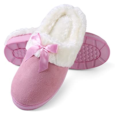 Amazon.com | Aerusi Women's Micro Suede Plush Fleece Lined Memory Foam Slip on Clog Houser Slipper | Slippers