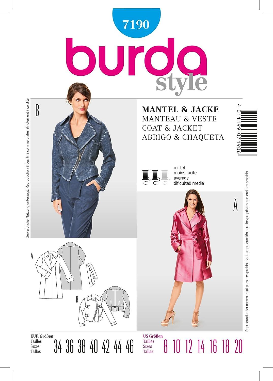 Amazon.com: Burda Sewing Pattern Style 7190 Misses Size 8-20 Jacket Coat: Arts, Crafts & Sewing