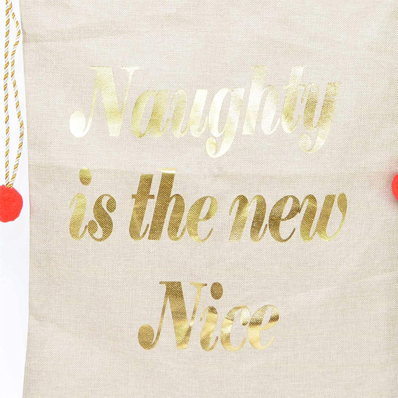 SHATCHI Printed Large Premium Hessian Santa Sack Stocking Naughty is The New Nice Accessories Brown Xmas Christmas Gifts Bag 72x50cm