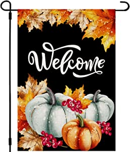 Whaline Welcome Autumn Garden Flag Double-Sided Fall Yard Flag Pumpkin Maple Leaves Outdoor Burlap Flag for Fall Harvest Thanksgiving Party Decoration, 12.5 x 18 Inch