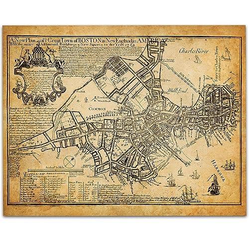 Amazon.com: Boston Map 1769 Art Print - 11x14 Unframed Art Print ...