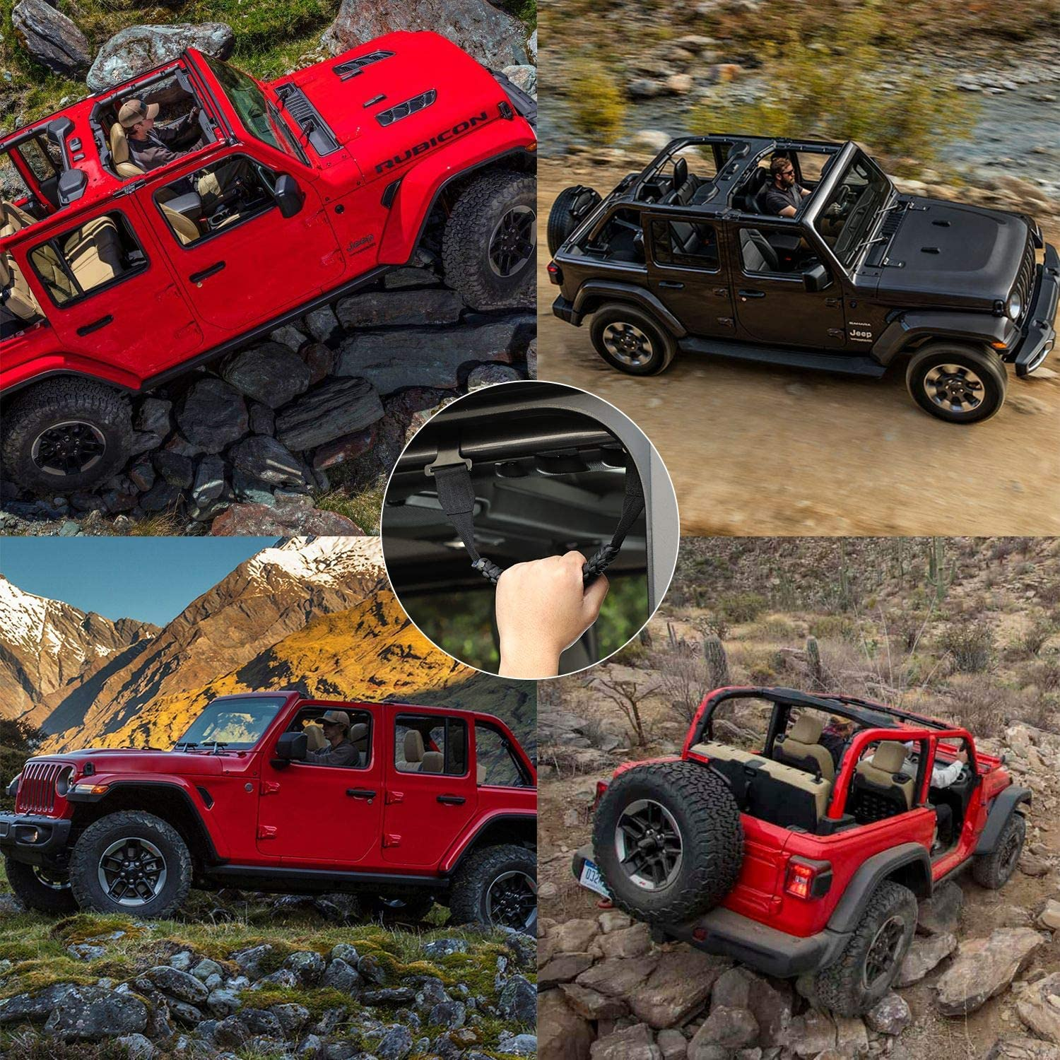 NOT FIT Power Top JeCar for Jeep Grab Handles 4 Pack Front /& Rear Grab Bars for 2018 2019 2020 Jeep Wrangler JL JLU /& 2020 Jeep Gladiator JT