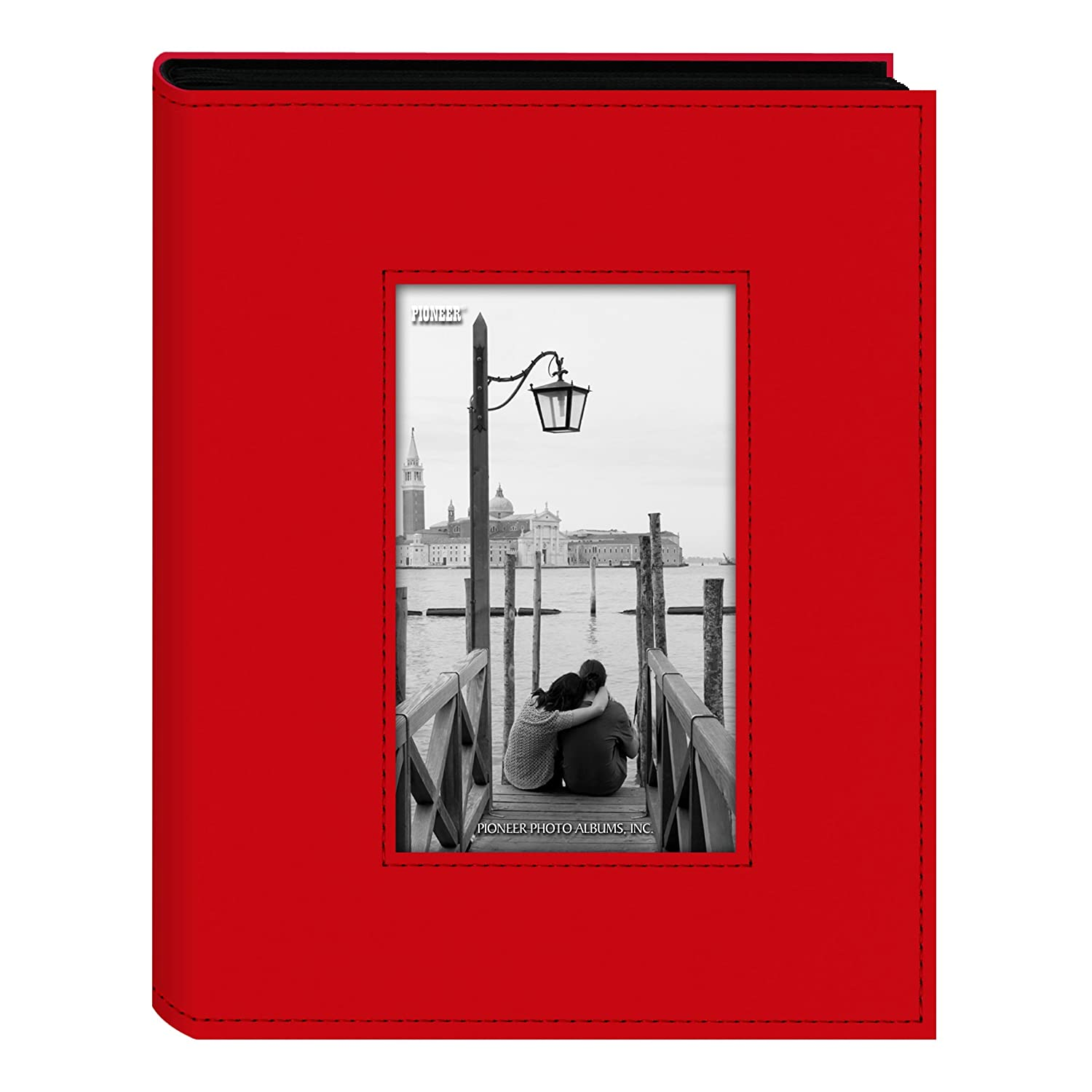 Pioneer Photo Albums FRM-246C 200-Pocket Sewn Leatherette Frame Cover Photo Album, Bright Orange FRM-246CO