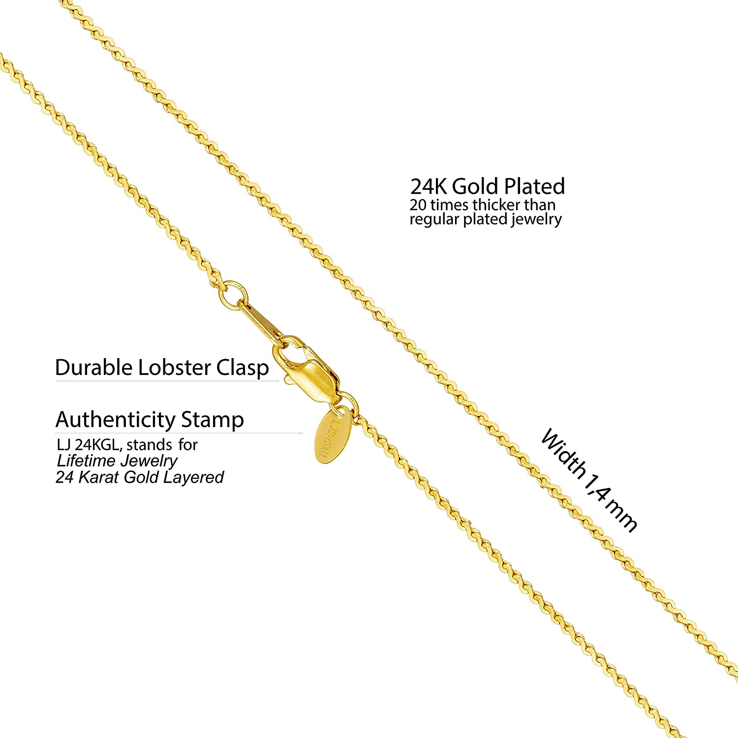 Dainty and Simple 20X More Real 24k Plating Than Other Thin Pendant Necklaces Lifetime Jewelry Gold Necklace for Women /& Girls Lifetime Replacement Guarantee 16/'/'- 30/'/' 1.4mm Serpentine Chain