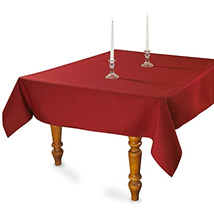 Square Polyester Fabric Tablecloth 70x70 Inch (Red)