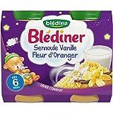 Blédina Blédîner Pots Semoule Vanille Fleur d'Oranger dès 6 mois 2 pots de 200 g (400 g)