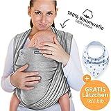 Babytragetuch aus 100 % Baumwolle - Dunkelgrau – hochwertiges Baby-Tragetuch für Neugeborene und Babys bis 15 kg – inkl. Aufbewahrungsbeutel und GRATIS Baby-Lätzchen – liebevolles Design von Makimaja®