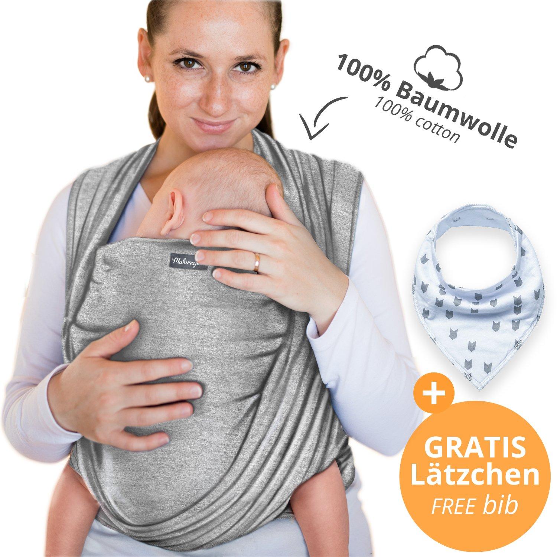 Portabebés hecho de algodón 100% - azul marino - portabebés de alta calidad para recién nacidos y bebés hasta 15 kg - incluye bolsa para guardar y babero GRATIS - precioso diseño de Makimaja®