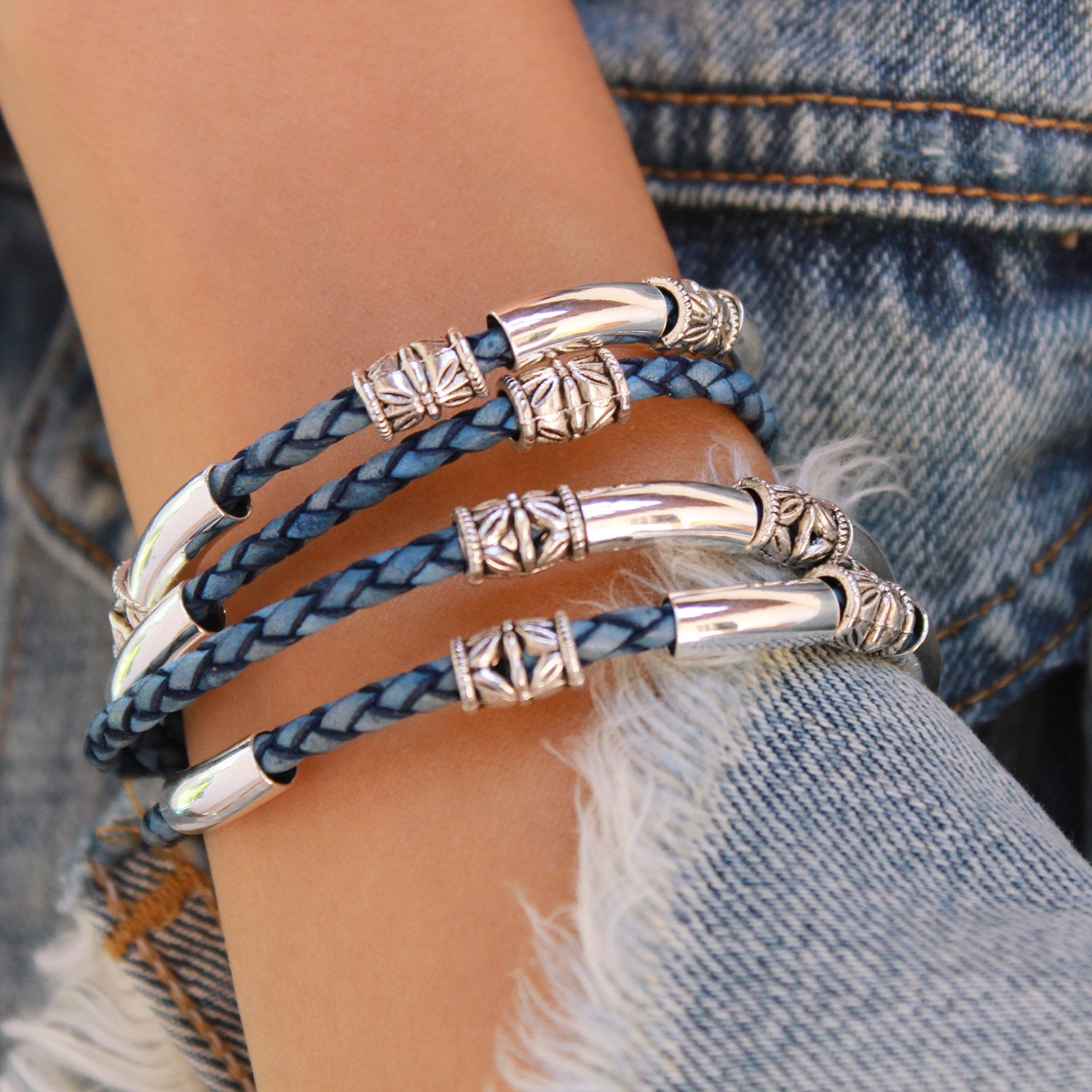 Lizzy James Mini Maxi Silver Plated Braided Leather Wrap Bracelet in Natural Blue Leather (Small) by Lizzy James (Image #2)