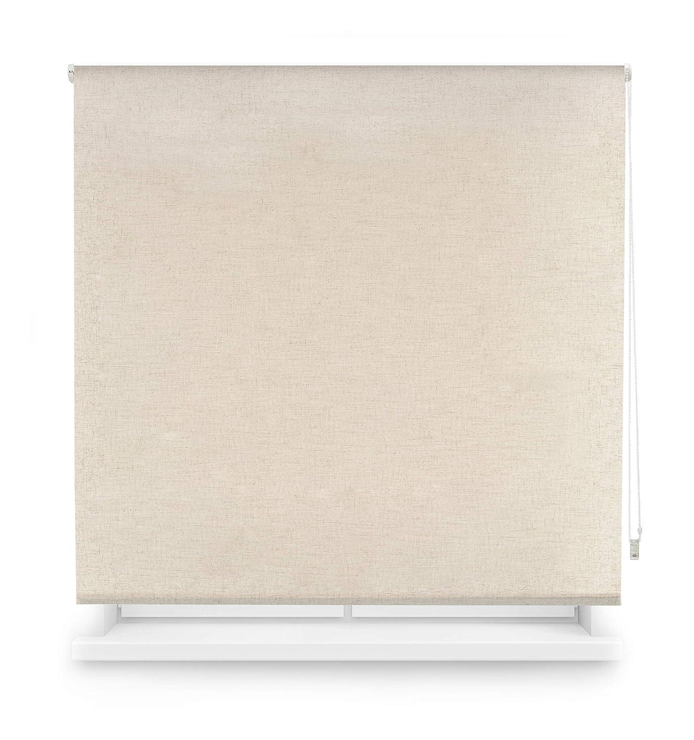 Blindecor Estor Enrollable Translucido Liso, Poliéster, Lino, 160 x 200 cm