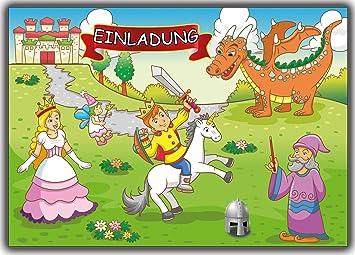 Ritter Prinz Einladungskarten Einladung 12 Stück Zum Kindergeburtstag  Geburtstag Kinder Jungen Mädchen Zauberer Prinzessin Fee Drachen
