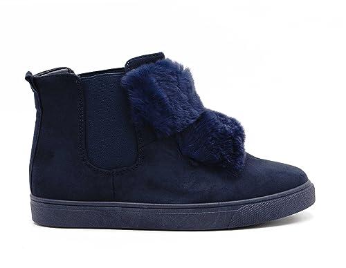 Zapatillas de caña alta para niña - borrego - con pompones de ante - pompones de piel, Azul (azul marino), 36 EU: Amazon.es: Zapatos y complementos